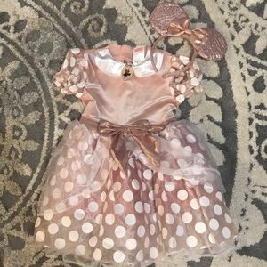 Girls rose gold Minnie Mouse costume